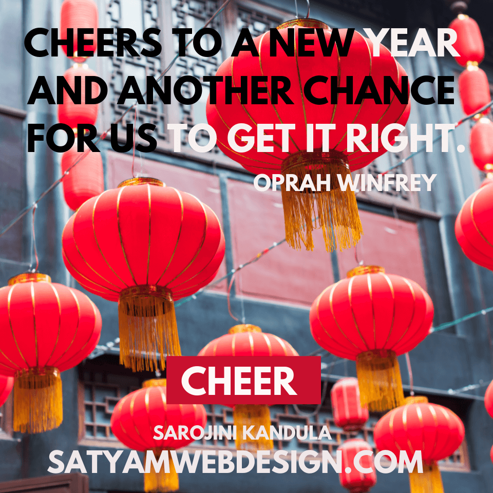 "Quote by — Oprah Winfrey : ""Cheers to a new year and another chance for us to get it right."