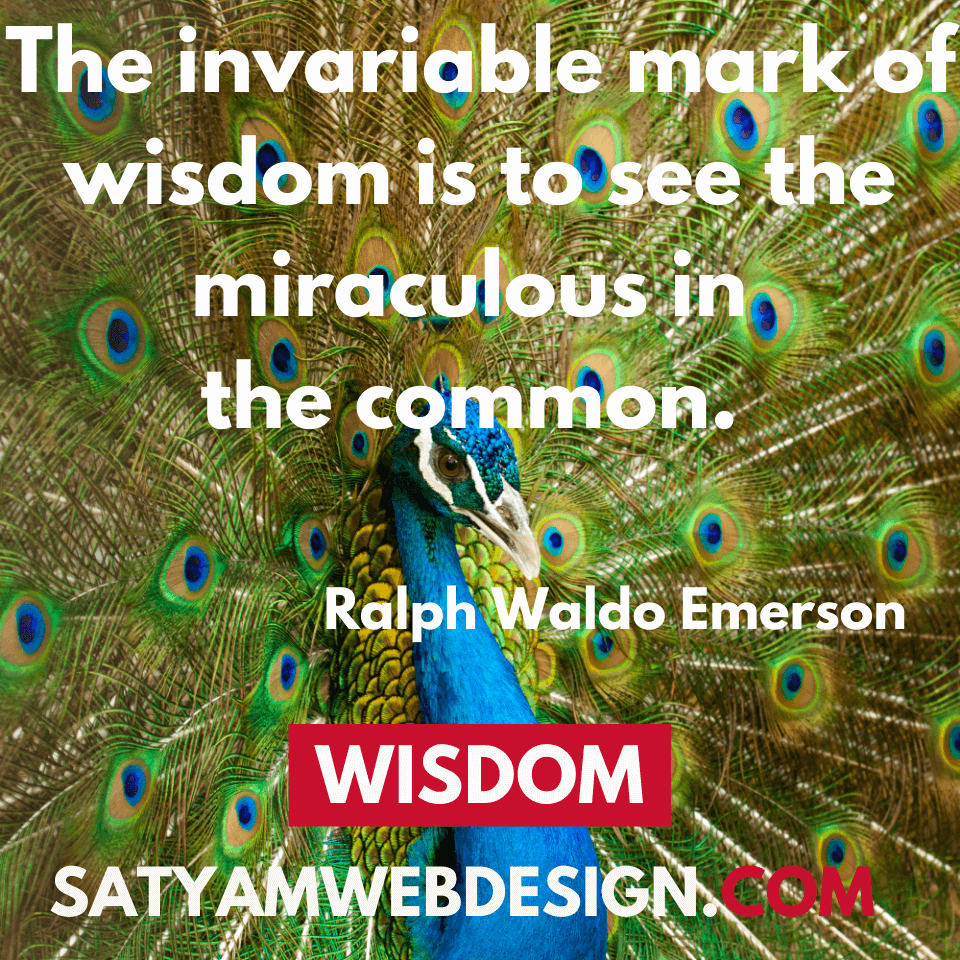 "—Ralph Waldo Emerson: ""The invariable mark of wisdom is to see the miraculous in the common."""